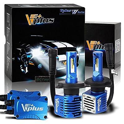 Pair Vplus W Series LED Headlight Bulbs W Series LED Headlight with 2 Pcs of H4 LED Conversion Kits 80W 14000lm Hi-Lo Beam Headlamp