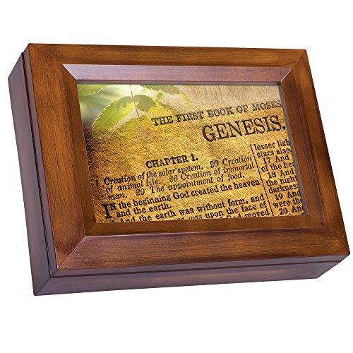 Created Flowers God (Genesis God Created Heavens Earth Bible Wood Finish Jewelry Music Box Plays Waltz of the Flowers)