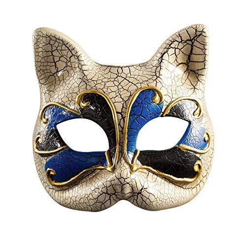 Baby Cat Face Halloween (BLEVET Venetian Masquerade Masks Cat Face Mask Halloween Costume Mardi Gras Party Ball Eye Mask BK004)