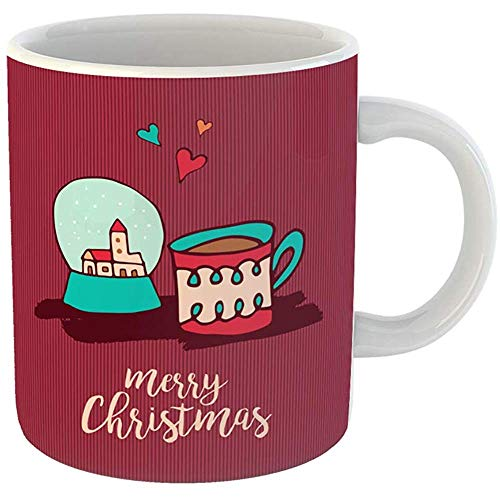Funny Coffee Tea Mug Gift 11 Ounces Funny Ceramic Merry Christmas Cute Xmas Snow Globe and Hot Chocolate Cup Cartoon Holiday Gifts For Family Friends Coworkers Boss ()