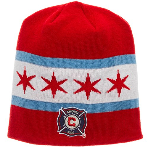 fan products of MLS Chicago Fire Men's Jersey Hook Beanie, One Size, White/Blue