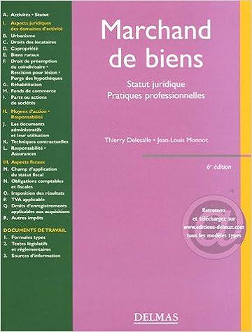 En ligne Marchand de biens : Statut juridique Pratiques professionnelles pdf, epub ebook