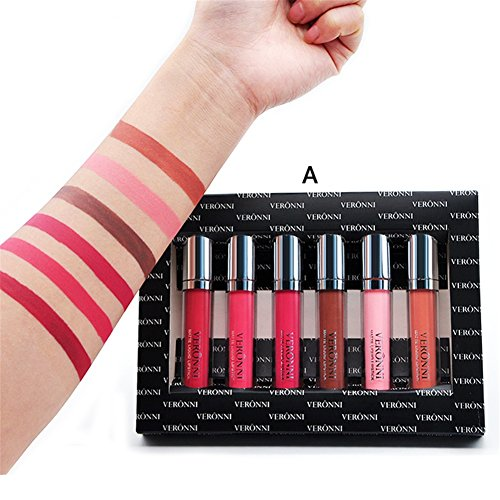 VERONNI Waterproof Matte Liquid Lipstick Set 6pcs Lip Gloss Kit Long Lasting,Non-Fade Lips beauty Cosmetic Makeup Case Perfect Gift Kit (#A Color set)