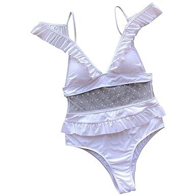 949ccd4ad5e Amazon.com: Women One Piece Swimwear High Neck V-Neckline Halter Lace  Swimsuit Bathing Suit: Clothing