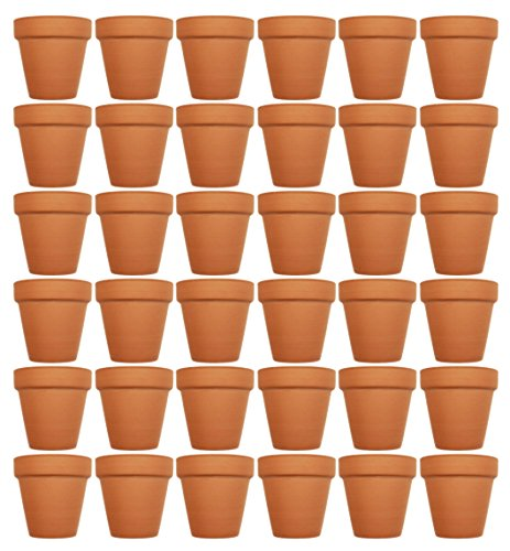 Set of 36 Terra Cotta Pots! 3'' x 2.95'' Pots Perfect for Vegetable or Flower Gardens! 3 inch Clay Terra Cotta Pots! (36) by Black Duck Brand