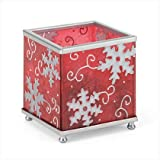 SQUARE SNOWFLAKE HOLIDAY CHRISTMAS CANDLE HOLDER - RED