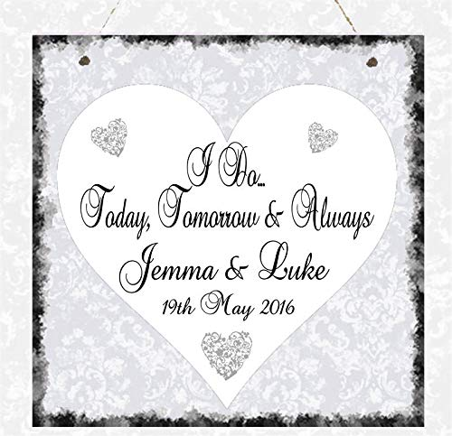 Personalised Love Heart Plaque I Do Wedding Marriage Gift Sign Present