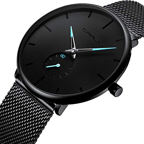 Men Minimalist Casual Quartz Wrist Watch Waterproof Black Stainless Steel Mesh Strap Watch for Men (Regulator Glass Clock)