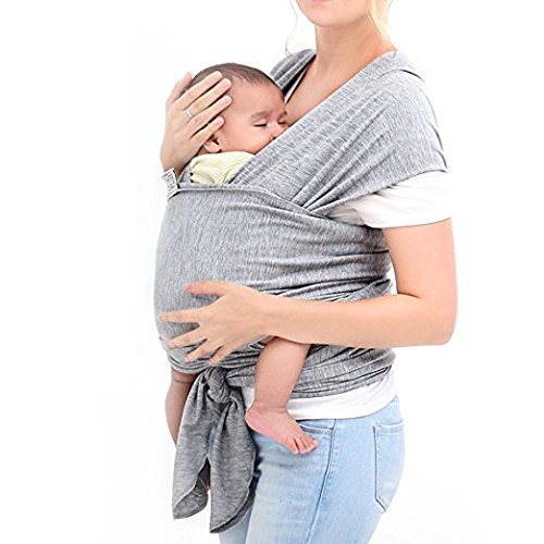 BoJo Baby Sling Carrier, Natural Cotton Nursing Baby Wrap Suitable for Newborns to 35 lbs, Soft, Comfortable and Breathable Breastfeeding Cover, Hands-Free Sling Baby Holder for Infant Grey