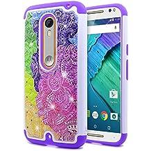 Droid Maxx 2 Case, Motorola Moto X Play (2015 Release Verizon), NageBee [Hybrid Protective] Armor Soft Silicone Cover with [Studded Rhinestone Bling] Design Hard Case (Rainbow)