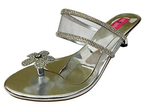 Step n Style - Sandalias de vestir de Material Sintético para mujer plateado plata