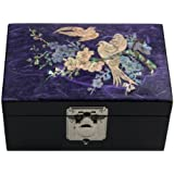 Mother of Pearl Bird and Flower Design Purple Wooden Jewelry Mirror Trinket Keepsake Treasure Lacquer Box Case Chest Organizer