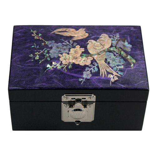 - Mother of Pearl Bird and Flower Design Purple Wooden Jewelry Mirror Trinket Keepsake Treasure Lacquer Box Case Chest Organizer