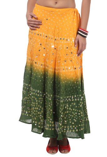 Rangsthali Cotton Womens Bandhej Sequins Work Long Skirt Rskt00045 by Rangsthali