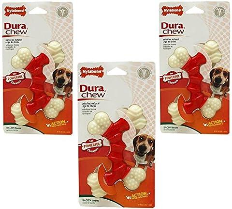 (3 Pack) Nylabone Double Dura Chews Bacon Flavored - Size Wolf - Dura Chew Plus Bone