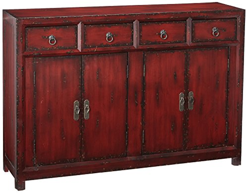 Hooker Furniture 58'' Red Asian Cabinet, Hand Painted Rich (Hand Painted Console Cabinet)