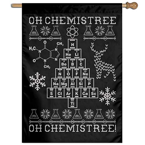 Ambulseek Oh Chemistree! Ugly Christmas Chemistry Vertical Garden Flag Demonstration Flag Only One Side 27
