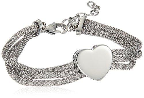 Triple Strand Heart Bracelet - ELYA Jewelry Womens Stainless Steel Triple Mesh Strands Polished Heart Chain Charm Bracelet, 7.5-Inch, White