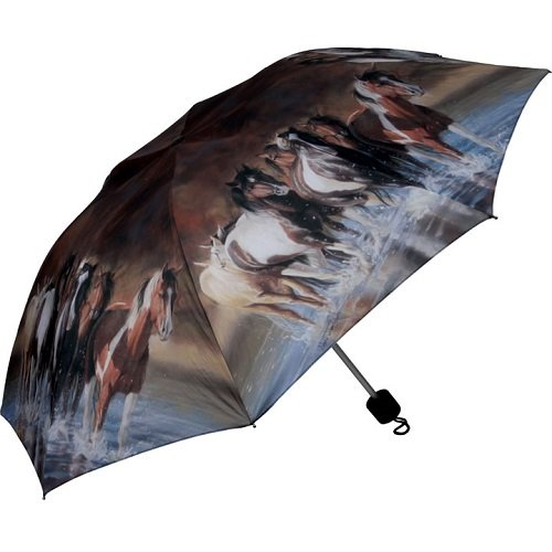 Rivers Edge Products Compact Folding Horse Umbrella, Brown,