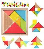 Simple Days Wooden Tangram Jigsaw Mind Puzzle Intelligent Blocks for Kids