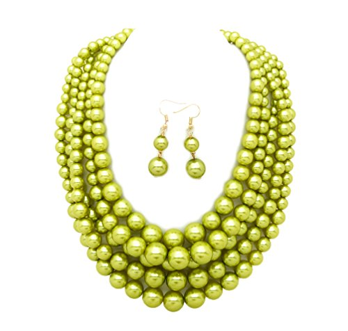 Five Strand Necklace (Women's Simulated Faux Pearl Five Multi-Strand Statement Necklace and Earrings Set (Lime Green))