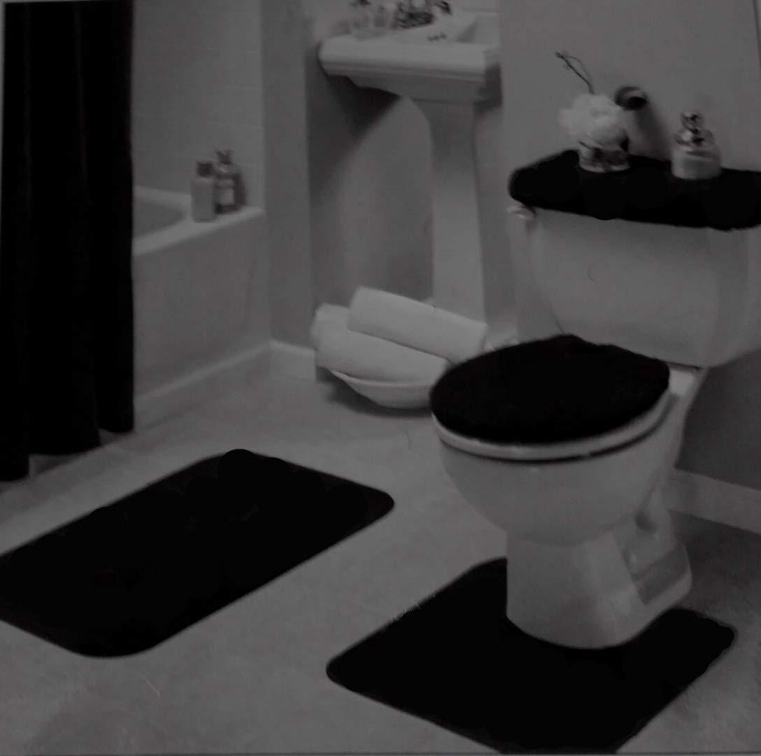 Amazon.com  Black Bathroom Rug Set 4 Pc  Home   Kitchen 595215d5c