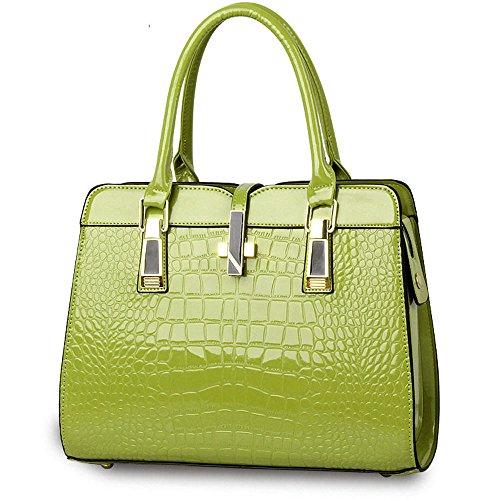 Motif Crocodile Sac à Main pour les Femmes Dames - Lumineux cuir verni / Haute Qualité Sac à Bandoulière / Européen et Américain Style Sac à épaule / Classique et Fonctionnelle Fourre-tout - Noir Vert