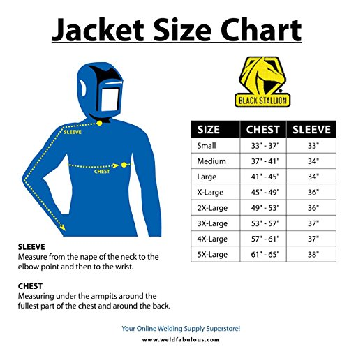 Black Stallion JL1030-BB Color Block Leather Welding Jacket, 4X-Large by Black Stallion (Image #4)