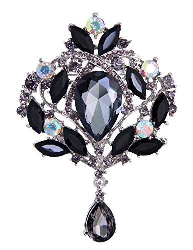 Danbihuabi Crystal Rhinestone Glass Brooch Pins Wedding Jewelry(purple,red,yellow,blue,white,black) (Black)