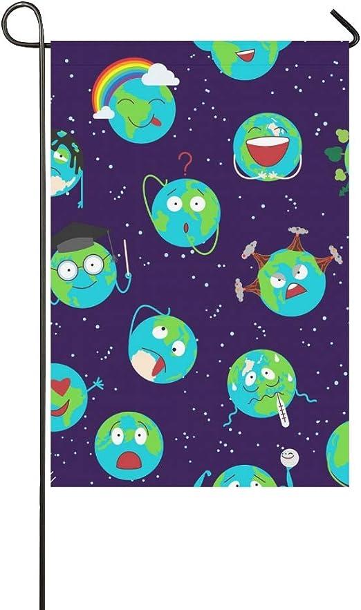 Decoración para el hogar Dibujos animados Globo Tierra Emoción Cara Personaje Jardín Flaghouse Patio Jardín Guardería Patio Decoraciones Temporal Bienvenida Bandera al aire libre 12X18 Pulgadas: Amazon.es: Jardín