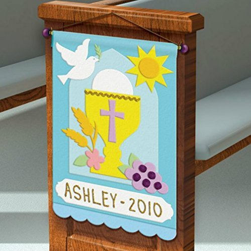 First Communion Pew Banner Decorating Felt Craft Kit (Rack 2 Wood 1 Cord)