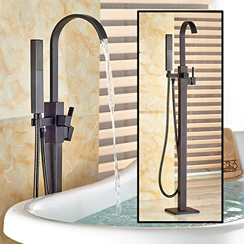 Zovajonia Oil Rubbed Bronze Floor Mounted Bathtun Filler Shower Faucets Set Free Standing Single Handle Tub Mixer Taps with Hand (Tub Filler Shower Faucet)