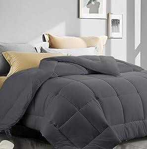 "King Size Comforter,Cooling Comforter for Night Sweats,All Season Down Alternative Comforter,Duvet Insert with Corner Tabs (Dark Grey,King,90""x102"")"