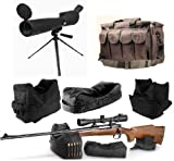 Ultimate Arms Gear 25-75x75 Black Rubber Armored Sniper Spotter Hunting Spotting Scope + 9'' Tripod + Sunshade + Lens Kit + Pro Series QD Front & Rear 3 Piece Shooting Rifle Shotgun & Muzzle Loader Steady Shooter Support Bag Range Set + Stealth Black Heavy