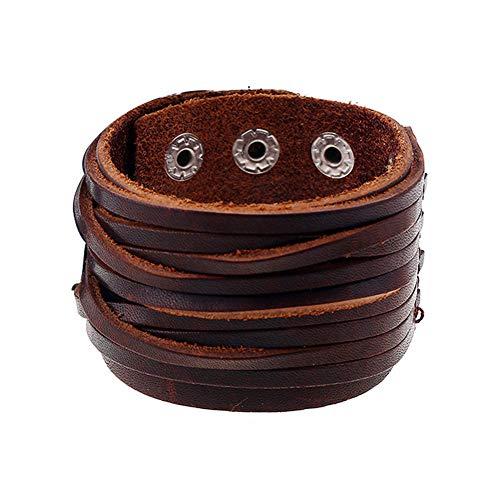 liujun Leather Bracelet for Men Women, Fashion Design Genuine Leather Cuff Bracelets, Brown Punk Style boy Girl Bracelet, Metal Press Buckle (Brown Style 15) ()