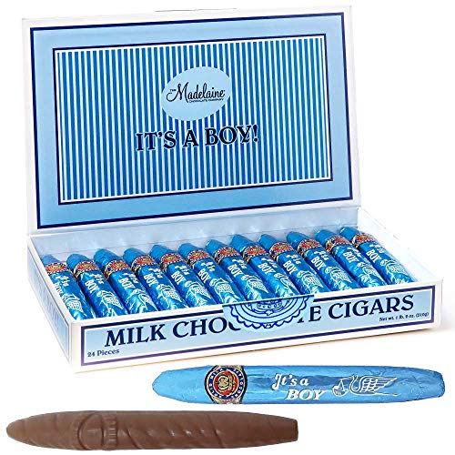 Madelaine Premium Milk Chocolate Cigars - It's a Boy Baby Shower Favors Gift Box - Individually Wrapped In Blue Italian Foils - 24 Cigars (Bubble Baby Gum)