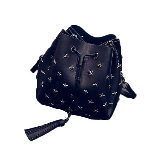 kissavi Schicke Damen Beuteltasche mit Stern Nieten Bucket Bag Zugband Leder Handtasche Schultertasche Einheitsgröße
