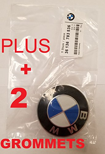USA SELLER BMW Front HOOD Emblem Logo Blue & White 82mm + 2 Grommmets - Bmw Hood Emblem