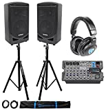 Samson Expedition XP800 800w Portable 8'' PA DJ Speakers+Mixer+Stands+Headphones