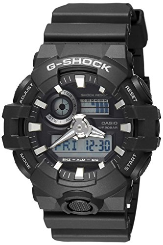 200m Gents Watch (Casio G-shock Ana Digi All Black Men's Watch, 200 Meter Water Resistant with Day and Date GA-700-1B)