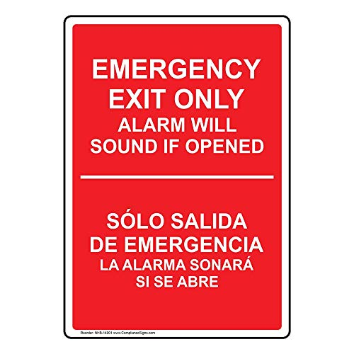 ComplianceSigns Vinyl Alarm Will Sound Label, 10 x 7 in. with English + Spanish, Red