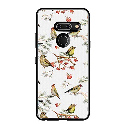 (Cell Phone Case Compatible for LG G8 ThinQ (2019) [6.1 Version] Animal Sparrows Chubby Birds Ethnic Leaves Branches Pine Trees Watercolor Image Artwork Multicolor)