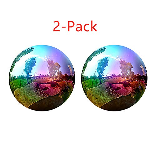 Gazing Globe - 2Pcs Rainbow Stainless Steel Shiny Gazing Balls for Gardens and Yard, 6 Inch