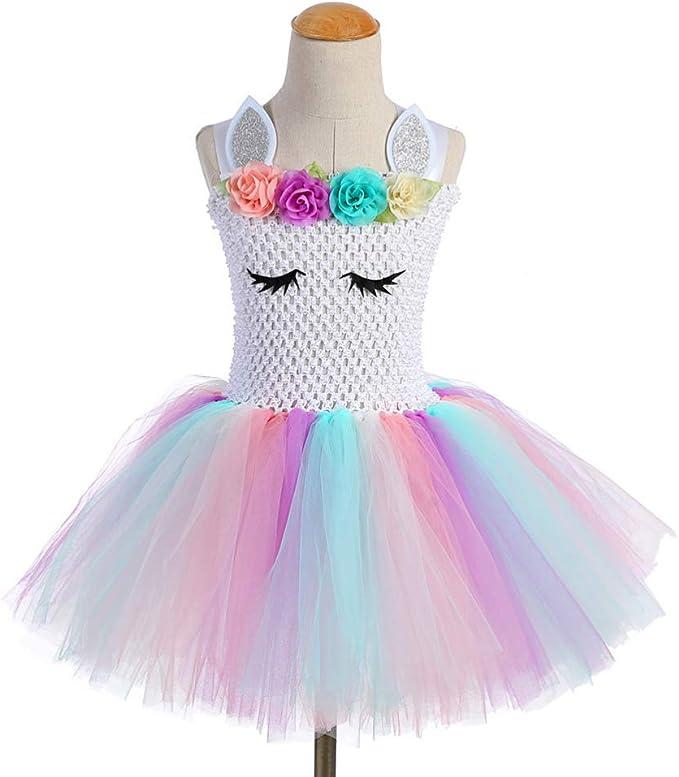 Holibanna Vestido de Falda de Tutú de Unicornio Malla de Arco Iris ...