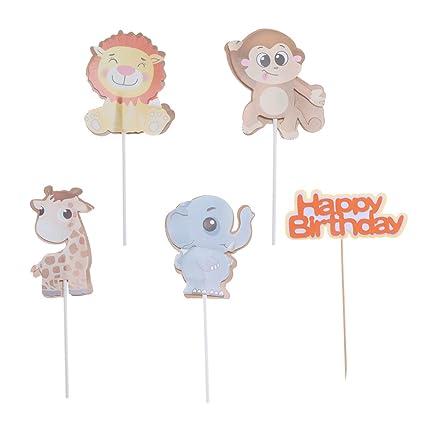 Amosfun Feliz cumpleaños Cake Topper Animal Cake Toppers ...