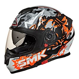 SMK Twister Attack Full Face Helmet With Pinlock Fitted Clear Visor (MA276/Matt Black, Orange and Grey, S)
