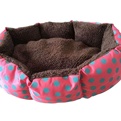 (Cute Dogs Beds Leopard Colorful Print Pet Cats Warm Nest Winter Super Soft Octagonal Nest Beds,Red,XL)