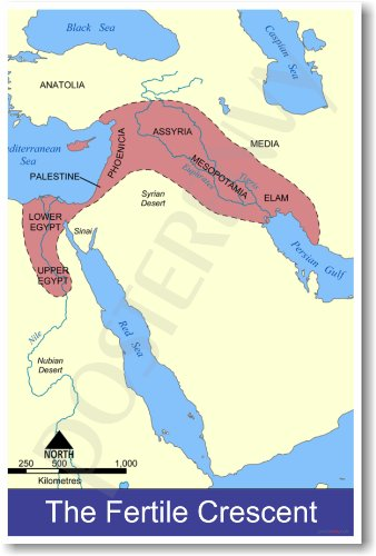 Fertile Crescent Map Ancient Civilizations Classroom Poster
