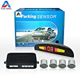 Auto safety Car Reverse Backup Radar System parking sensor kit ,LED Dispaly + Human Voice Alert +4 sensors+4 colors for Universal Auto Vehicle (Silver)