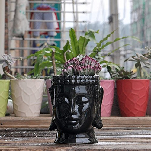 Buddha Head Ceramic Plant Pot, Black